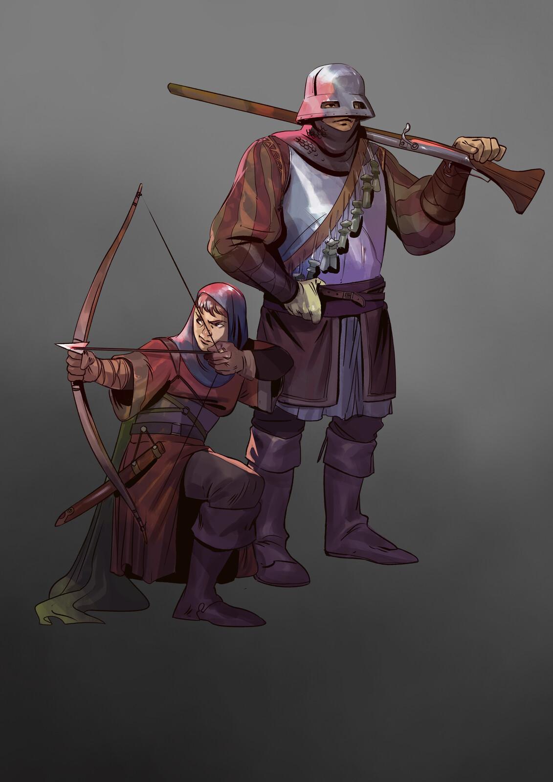 Archer and Arquebusier