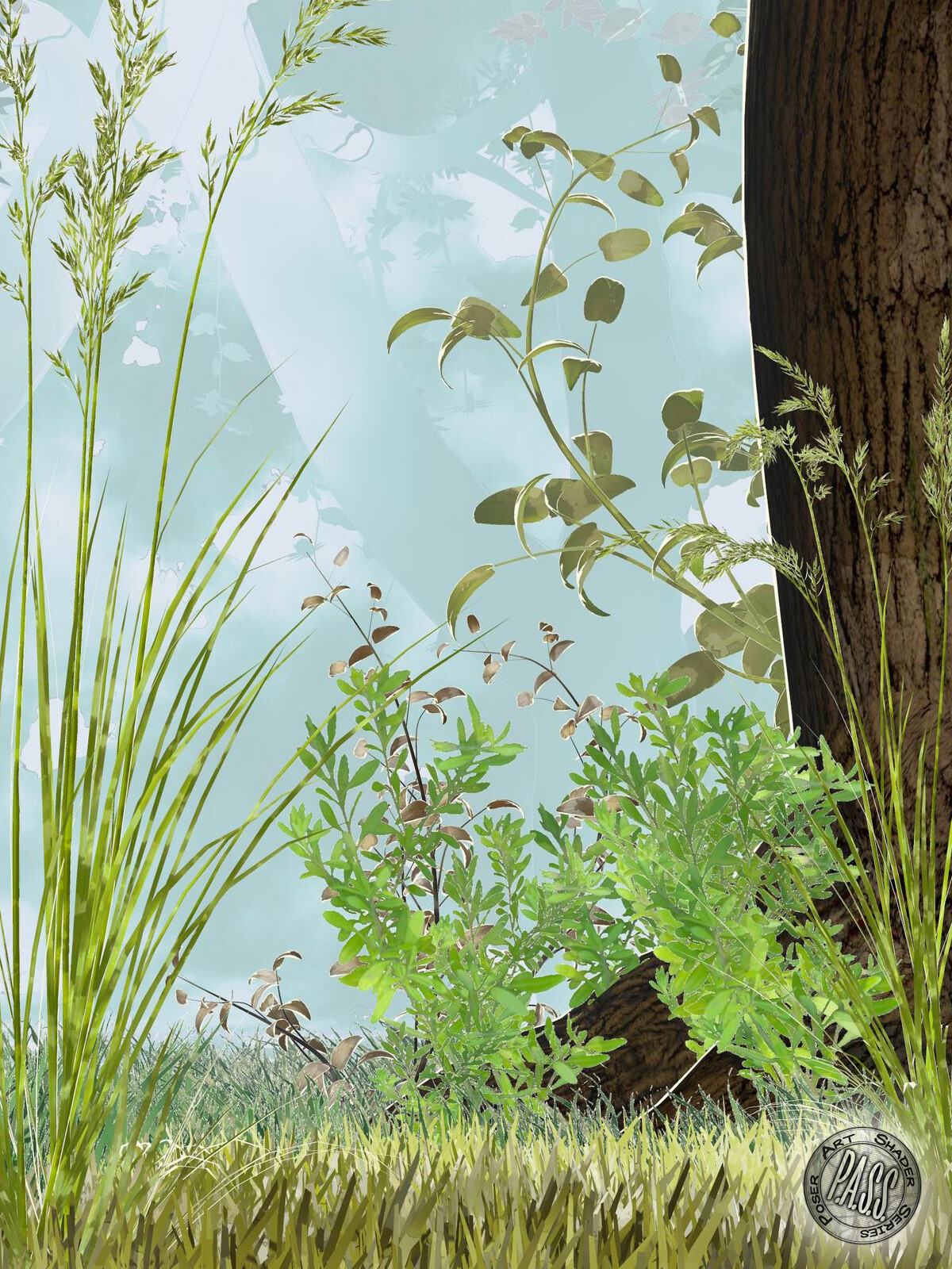 An example of large and small foliage shaders, as well as the depth cue backgrounds.
