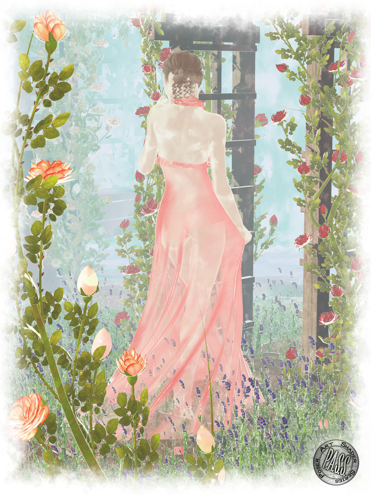 An example of the flower, small foliage, large foliage, skin, hair, fabric, and sheer fabric shaders, and the depth cue backgrounds.