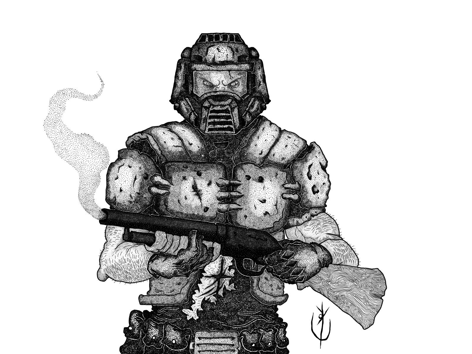 Doomguy ou Slayer sem cor