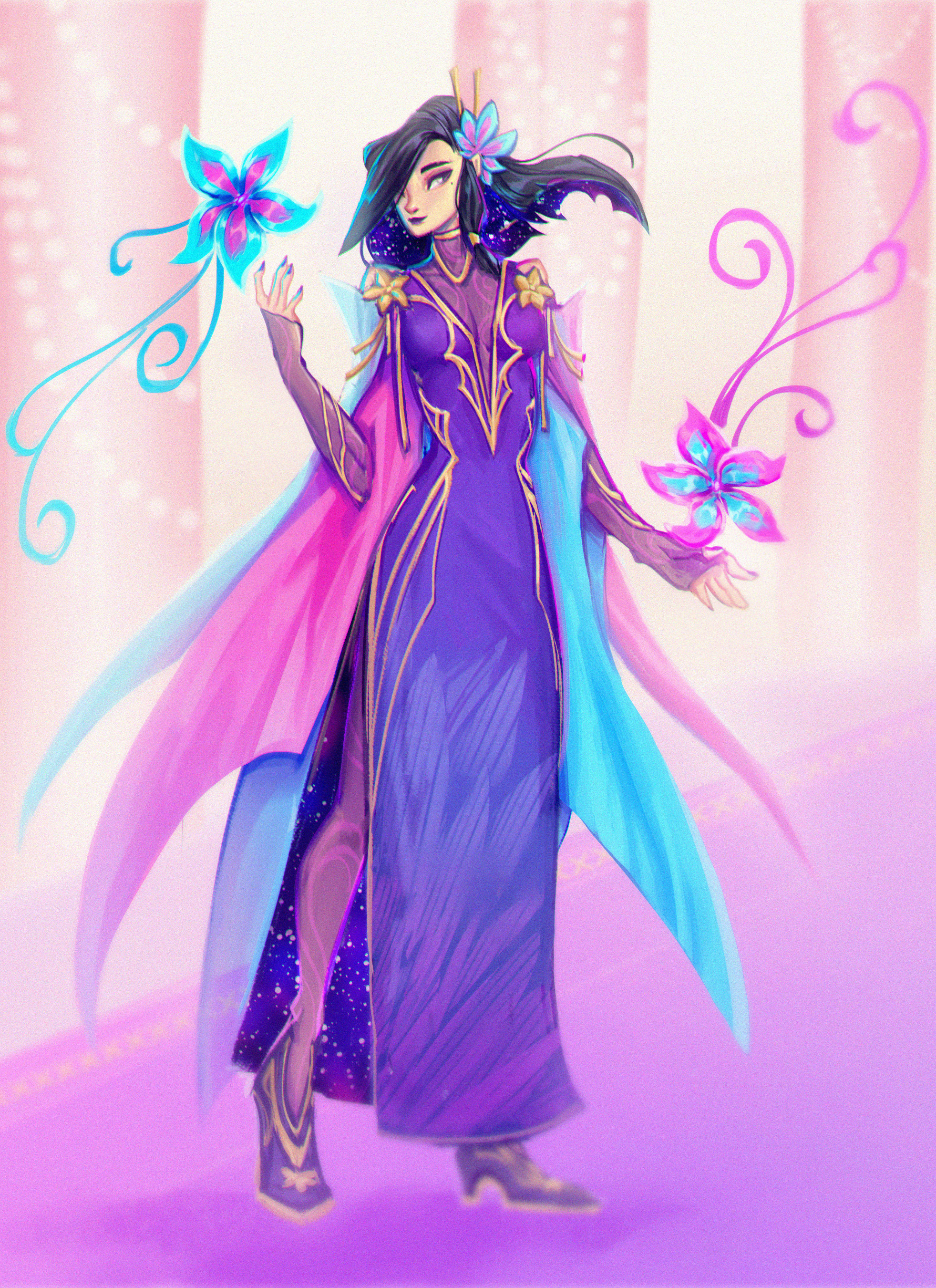 Fun painting of Kae ready to hit Faebelina's winter ball!