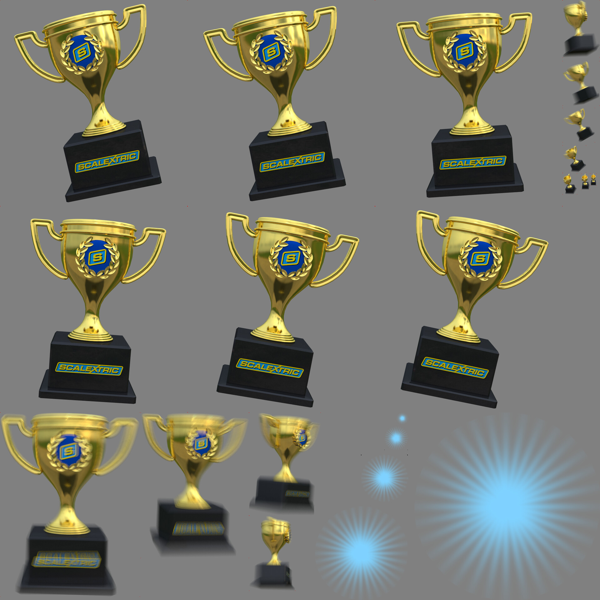 Ingame sprite sheet showing trophy rendered in Blender3D