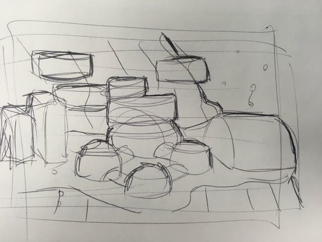 A quick sketch, 4x3 inches in a sketchbook.