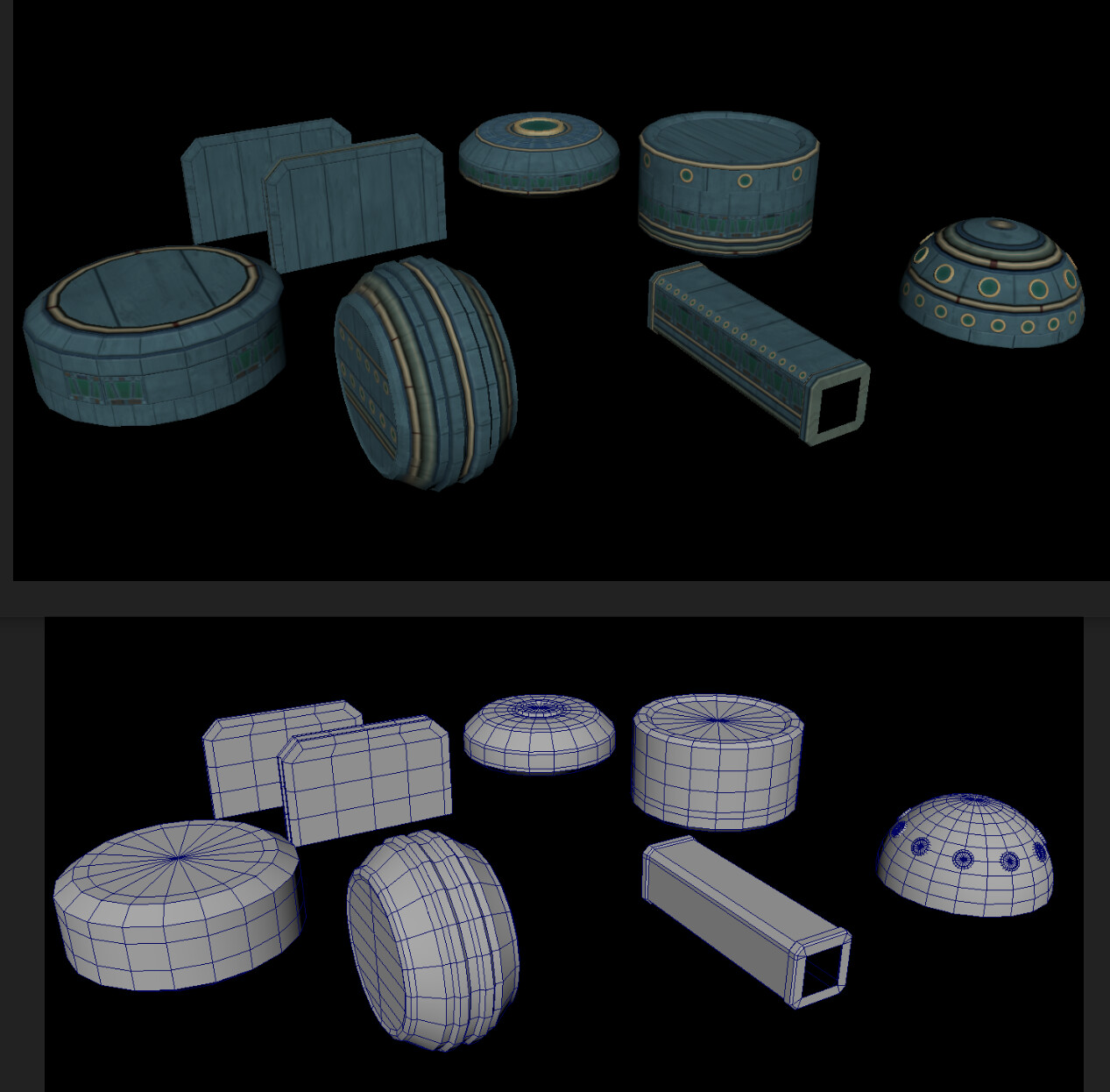 Once I had the trim-sheet, UV mapped the different strips onto different loops of the relatively low-poly geo.