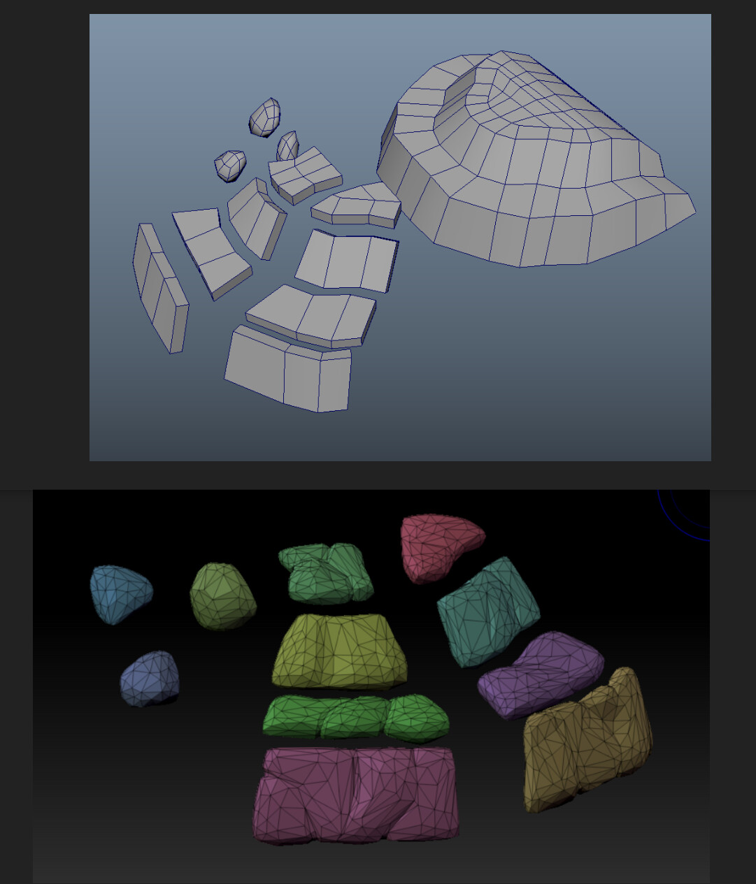 Here's the basic plan for the cliff-side stones.  A quick sculpt in zbrush and then several passes of decimation-master to get the final geo.