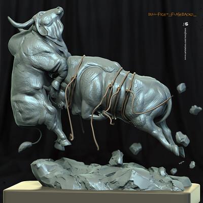 Surajit sen bull fight flashback01 digital sculpture surajitsen dec2019 ddd