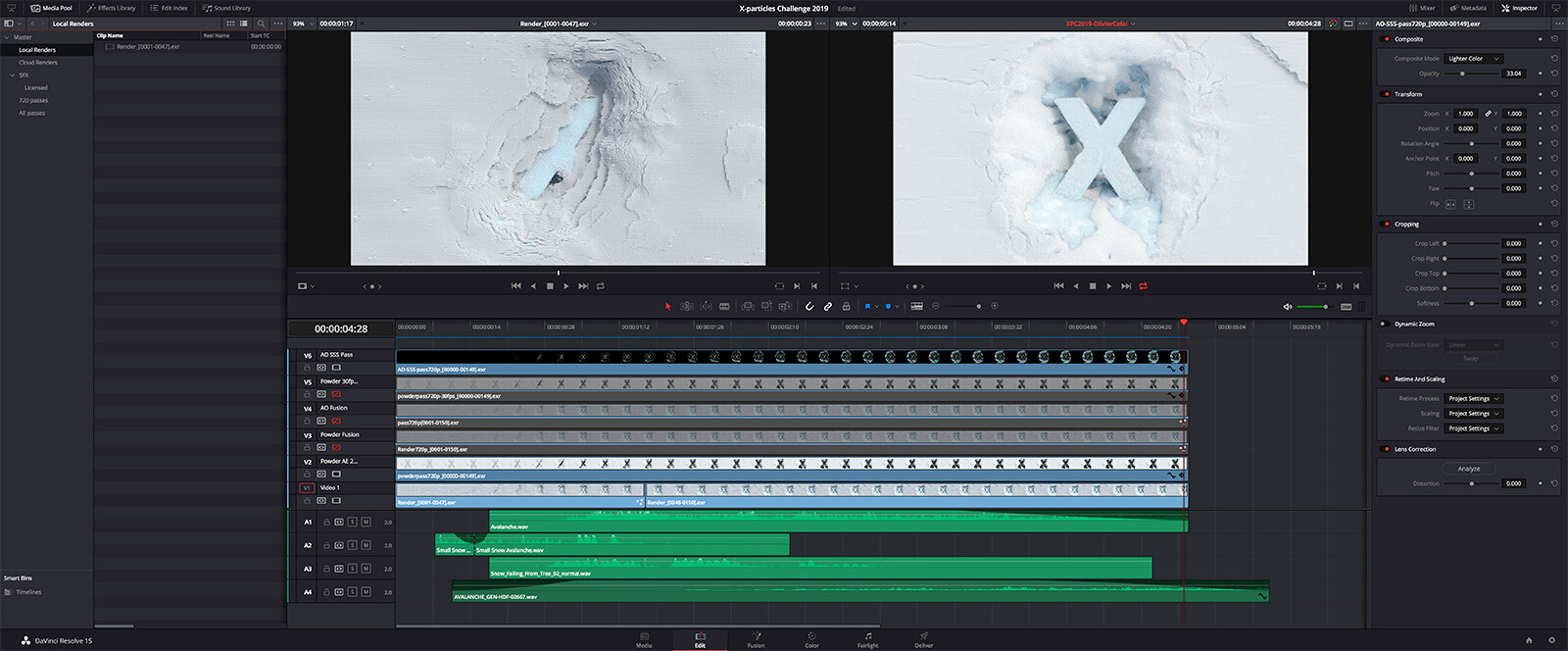 Editing in Resolve. I layered 4 different sound effects to give depth to the shot.