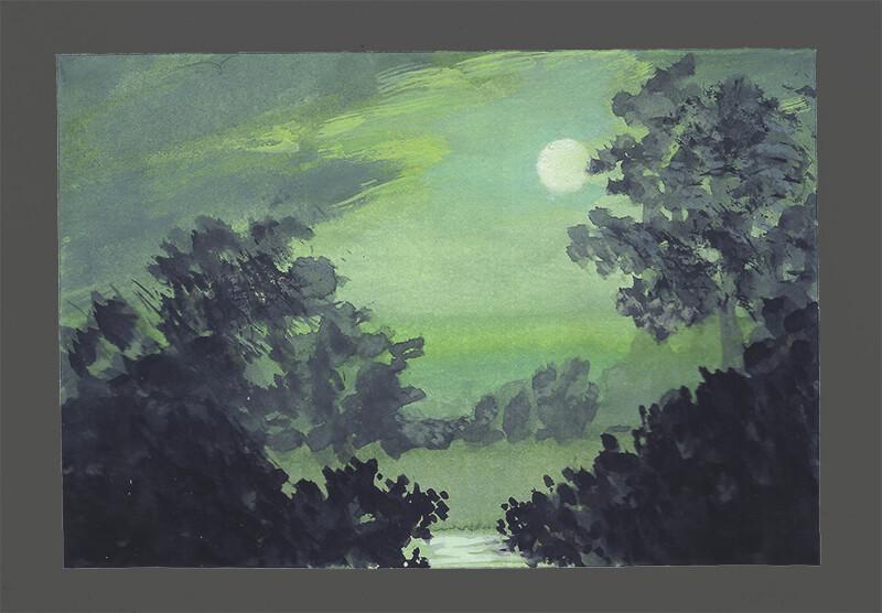 After Ralph Albert Blakelock, Moonlight; gouache