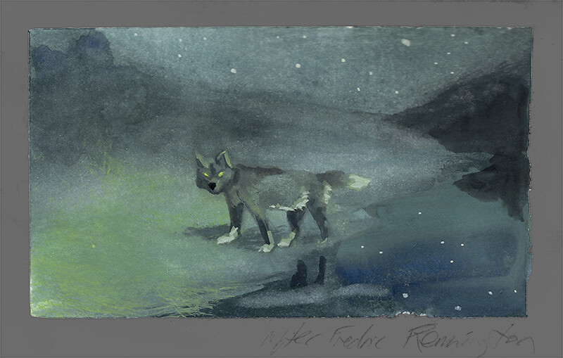 After Fredric Remington, Moonlight Wolf; watercolor and gouache