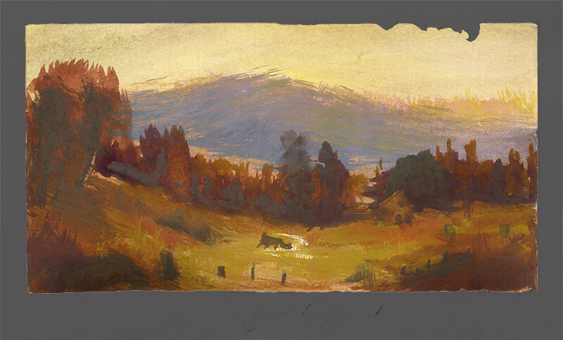 After Sanford Robinson Gifford, Hunter Mountain Twilight; gouache and watercolor