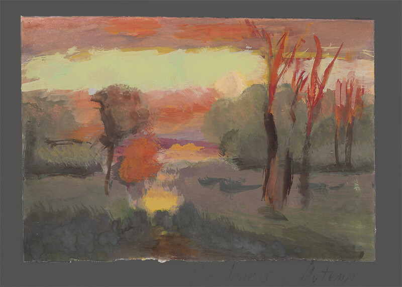 After George Inness, Autumn Gold; gouache
