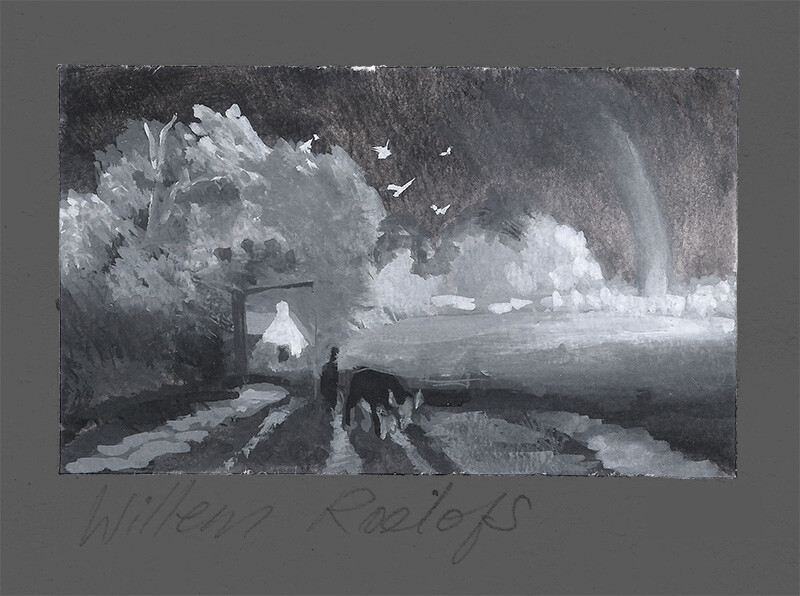 Tonal Study After John Henry Twachtman, Spring Landscape; gouache
