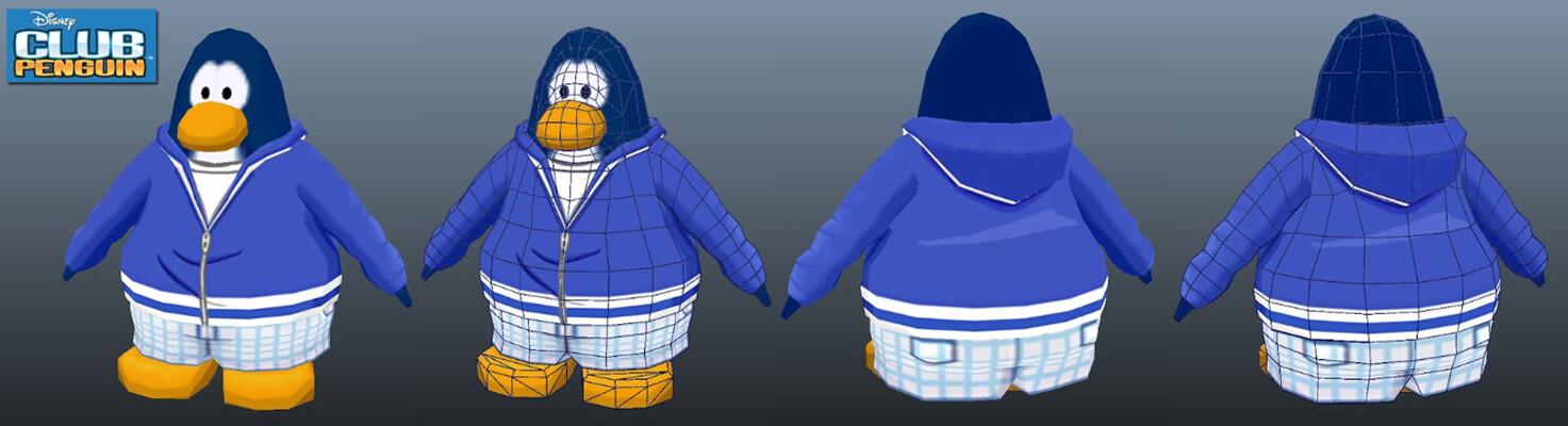 One of the costumes that I modeled and textured for Disney's Club Penguin. (Penguin model created by another artist)