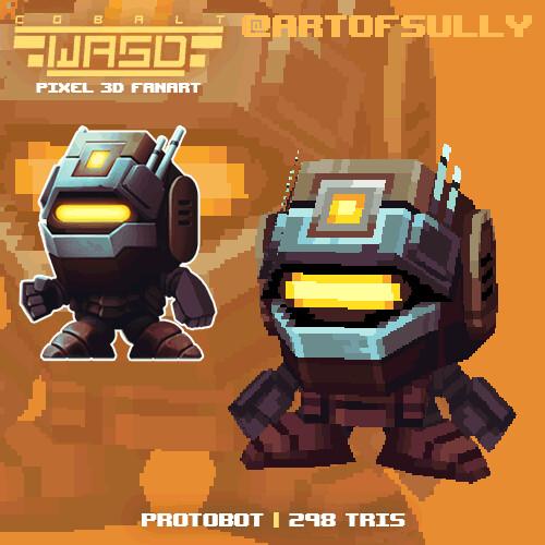 Protobot ('Cobalt WASD' lowpoly pixel fanart)