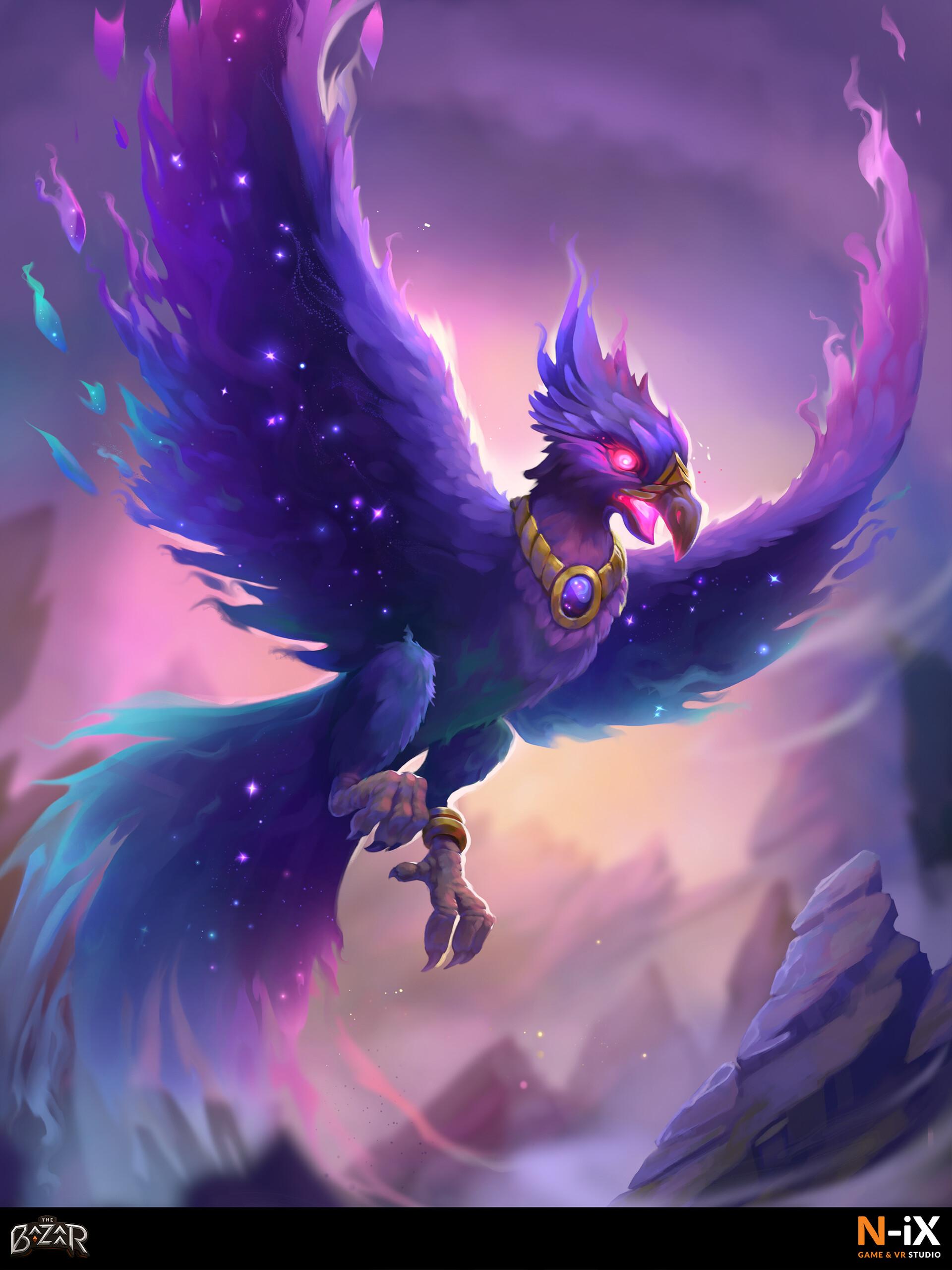 The Bazaar Guardian bird card artwork based on backers description