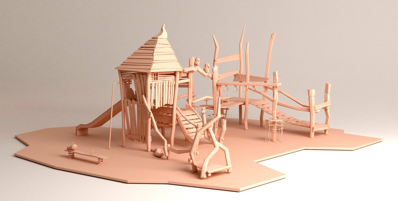3D model, full scene, front-right view
