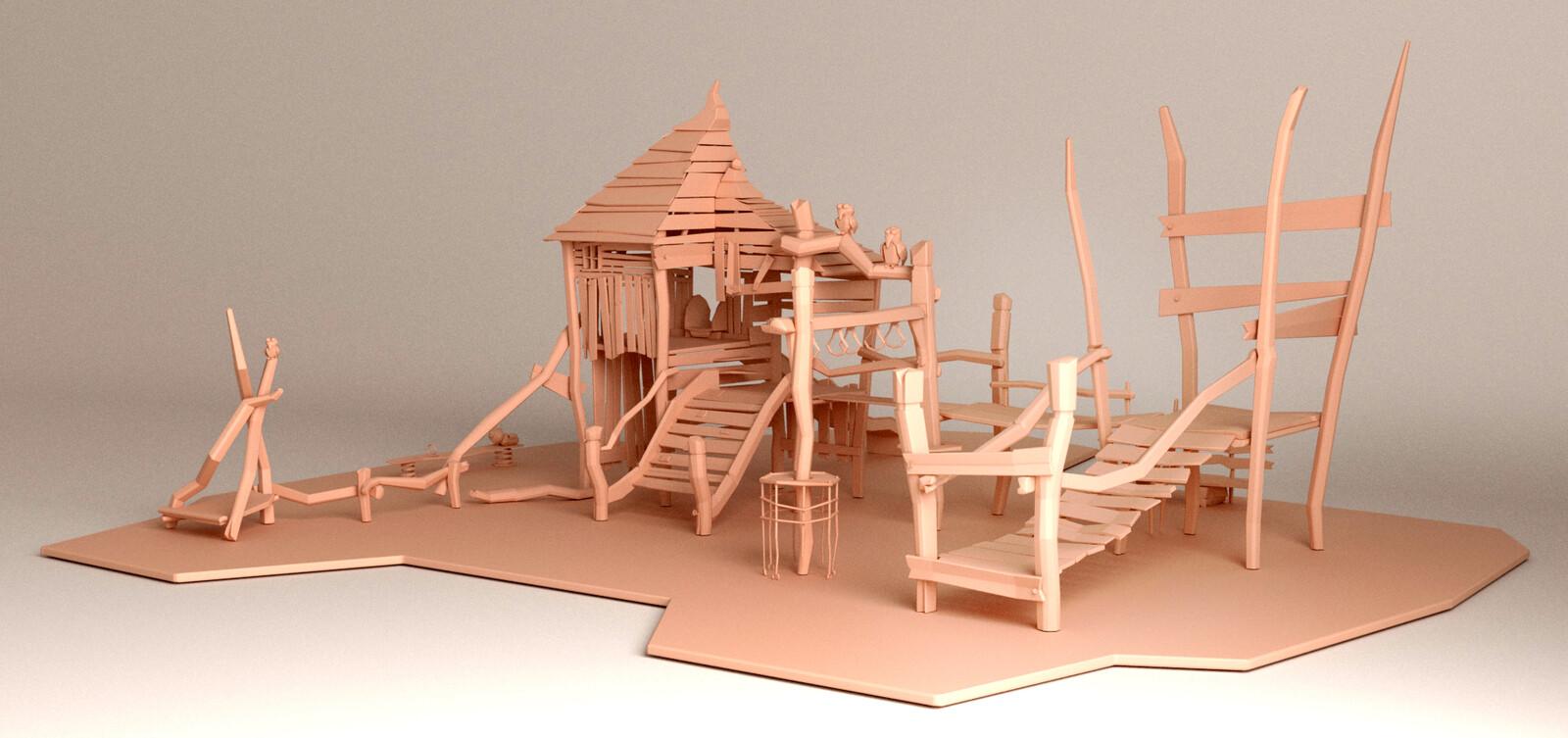 3D model, full scene, front-left view