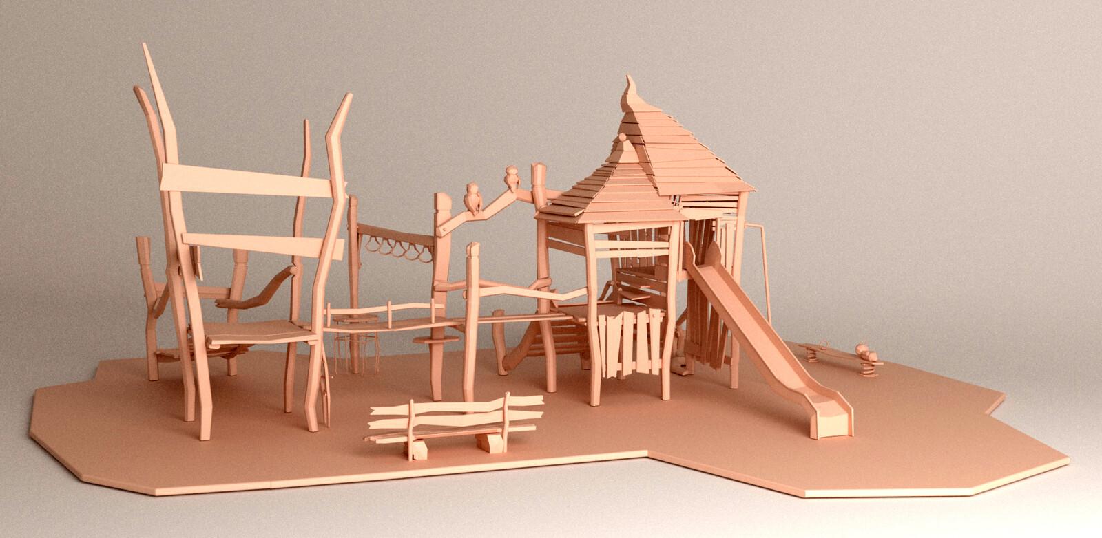 3D model, full scene, back-left view