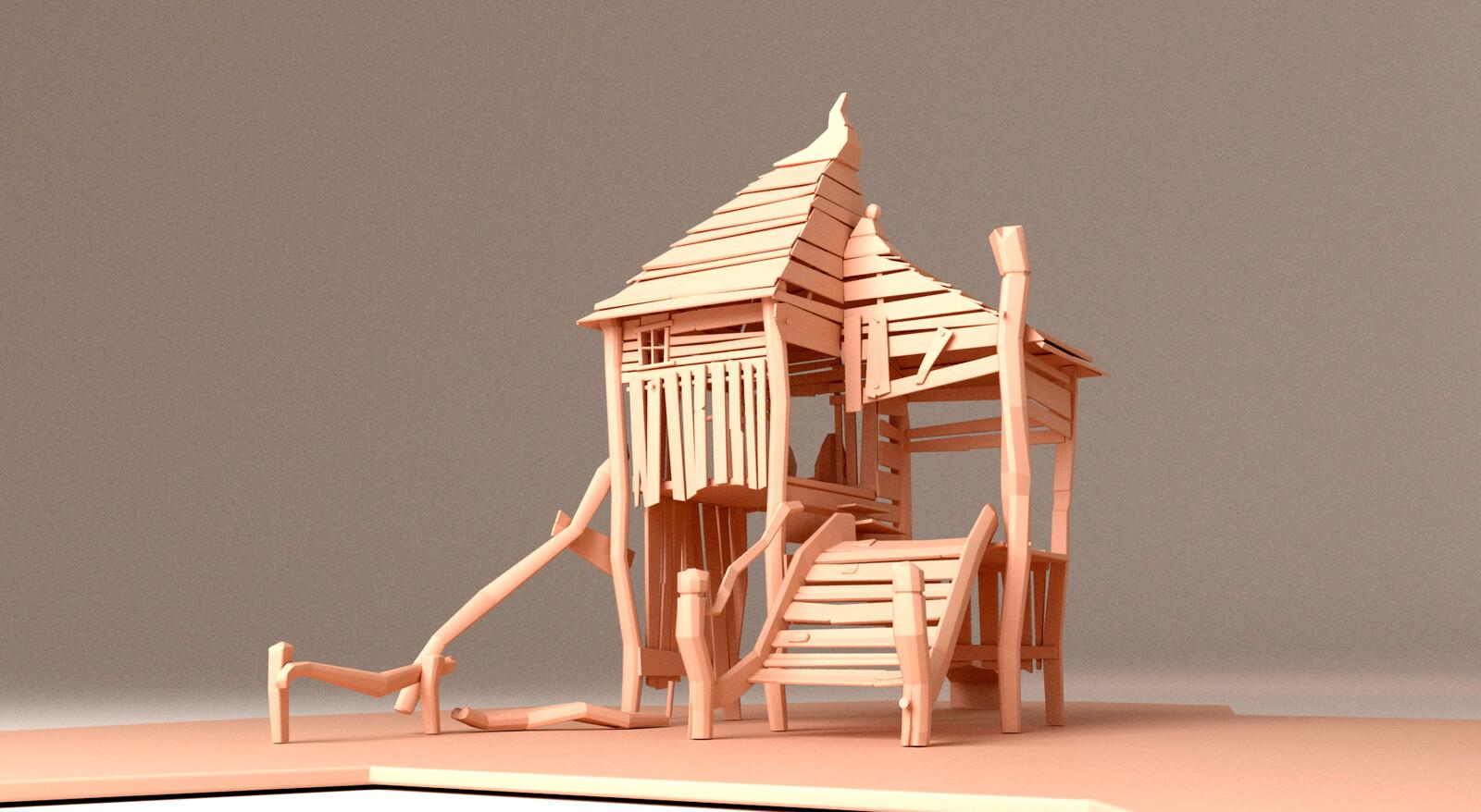3D model, close-up, main building, front view