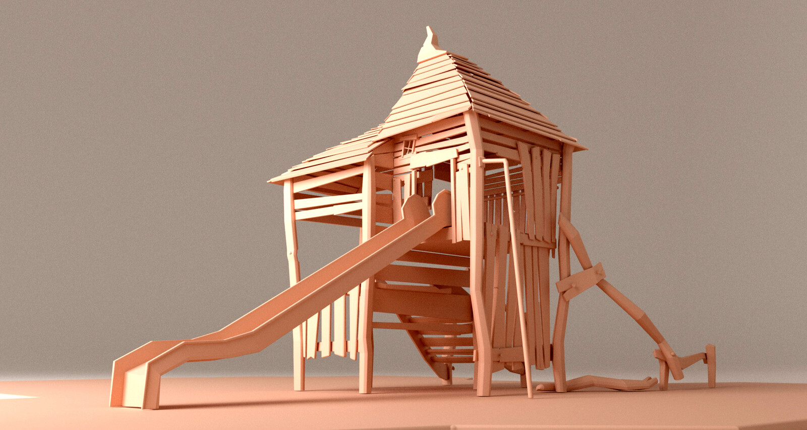 3D model, close-up, main building, back view