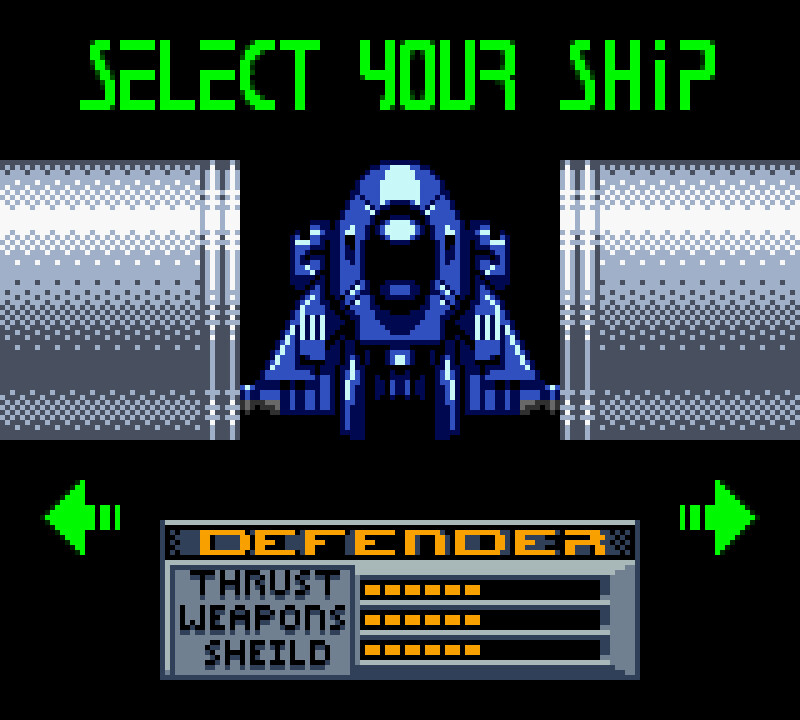 Ship selection screen
