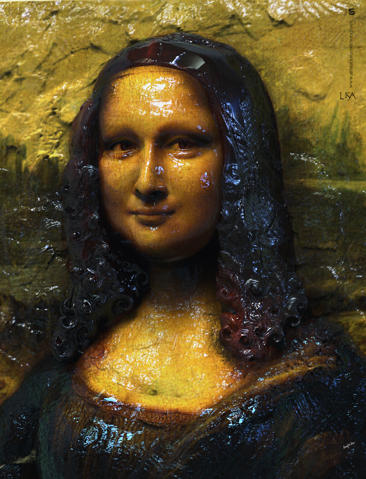 """Lisa! I tried to make a sculpted form of my thoughts.... #monalisa. I applied Rough strokes...patches to bring the look and feel. Note- my apology for trying to make 3d Sculpture form of Da Vinci's greatest creation """"Monalisa""""."""