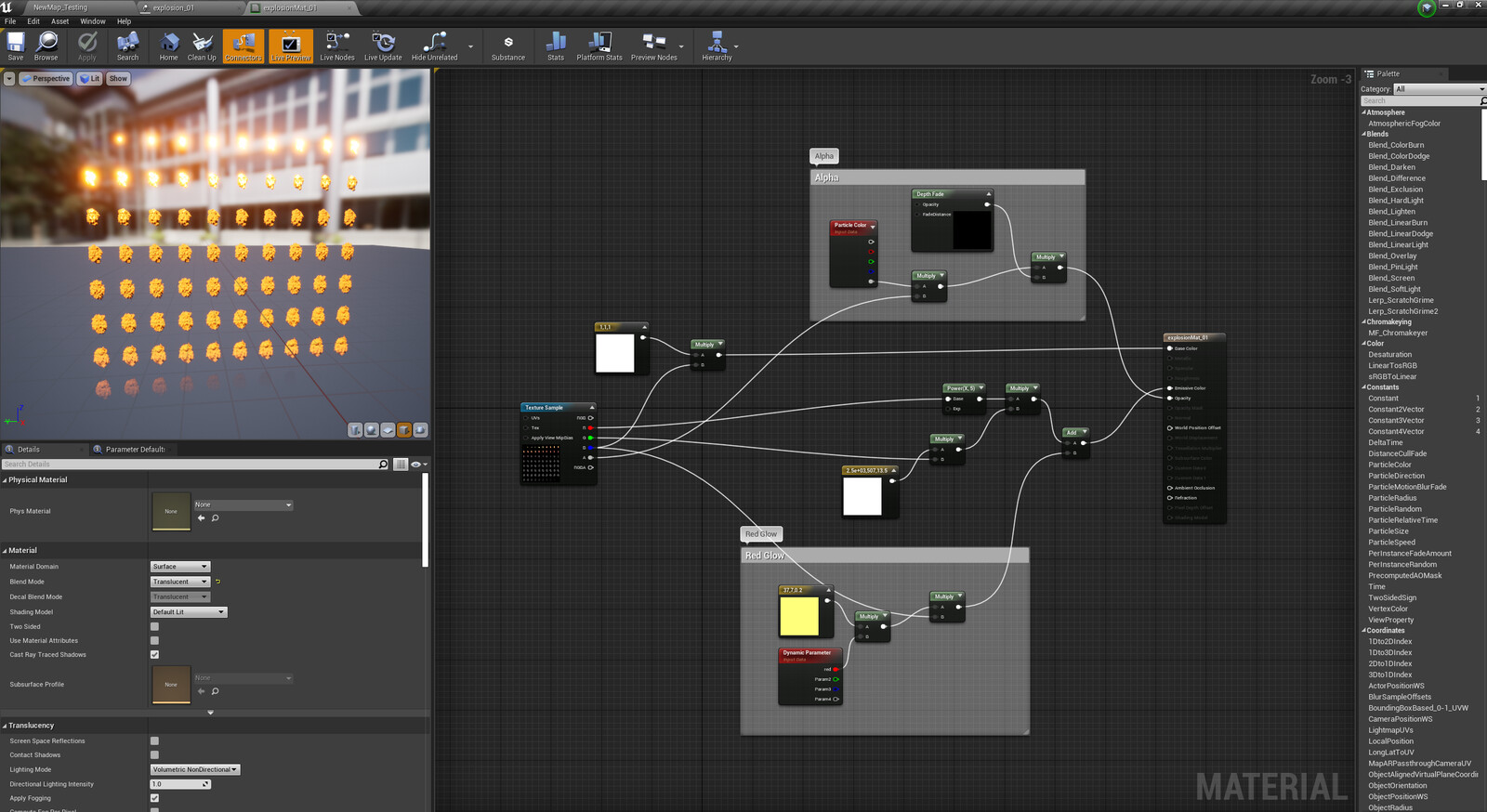 Unreal engine Screen Capture Explosion shader graph