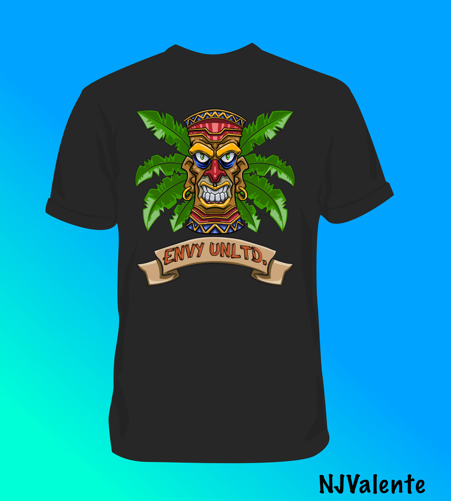 Tiki eNVy Unltd. T-shirt design mock up of shirt back.
