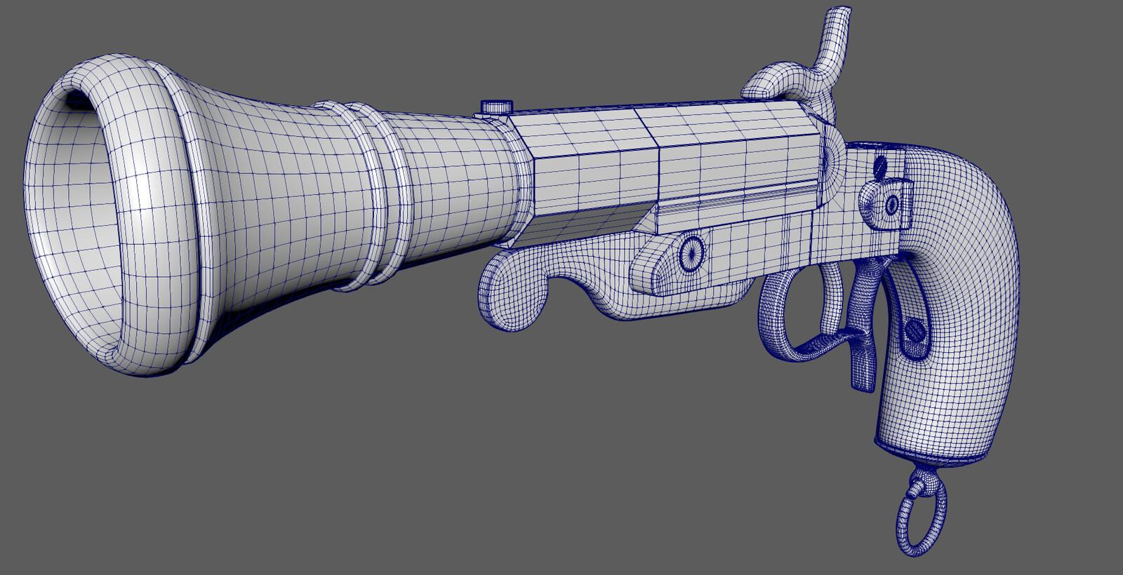 A Blunderbuss pistol model I created in Maya 2019. Maybe a little too dense...
