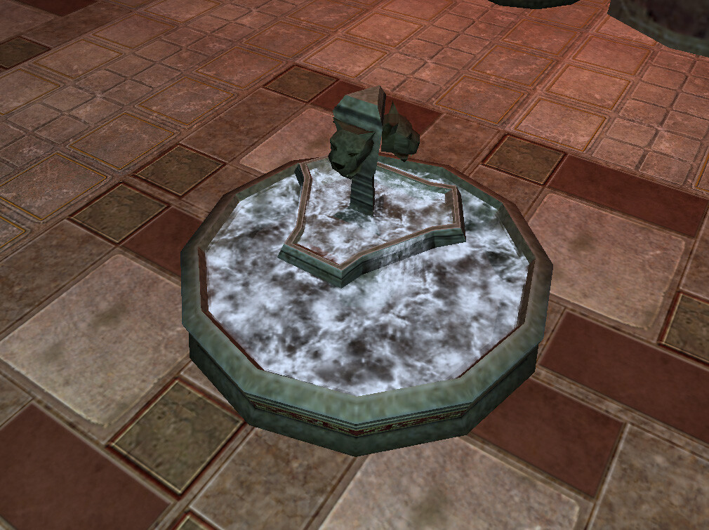 I modeled and textured this fountain asset for Marvel Ultimate Alliance 2 for the Nintendo Wii and PS2. Particle FX by another artist. © 2009 Marvel / Activision / nSpace