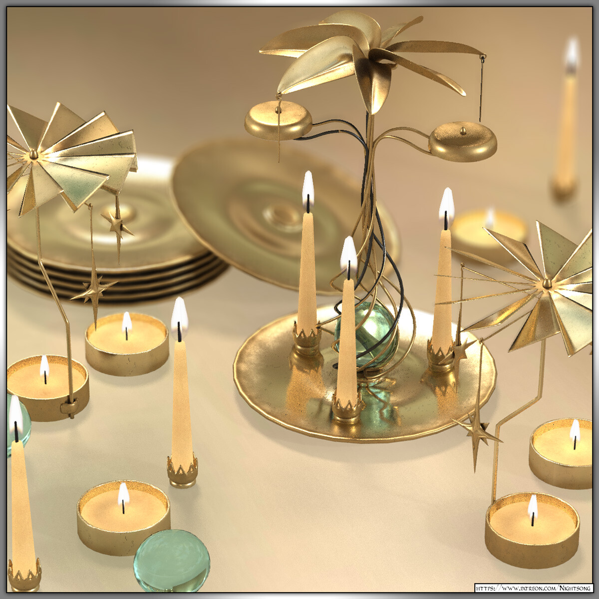 3D Candle Mobiles: Patreon 3D Model Archive