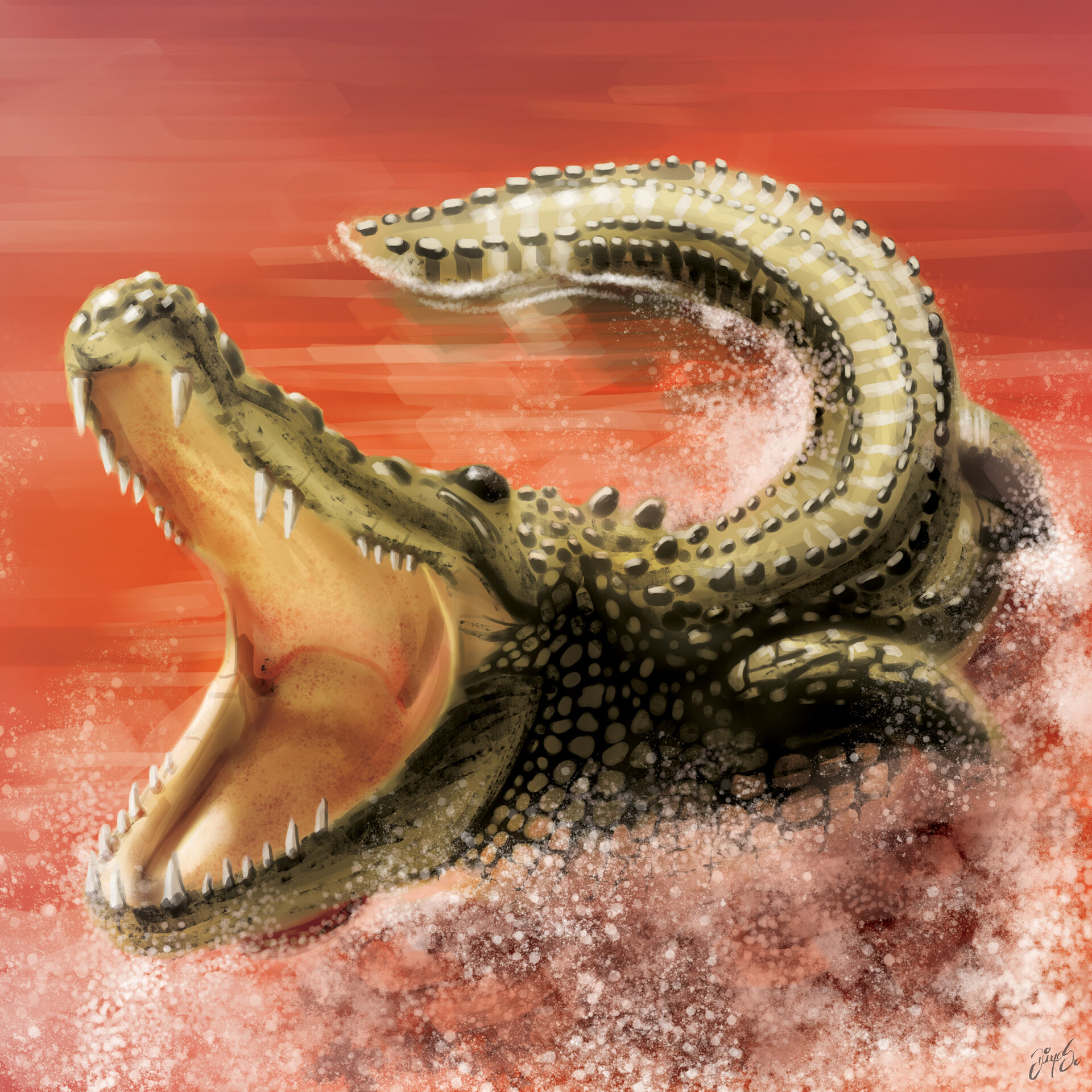 Tile illustration - Crocodile
