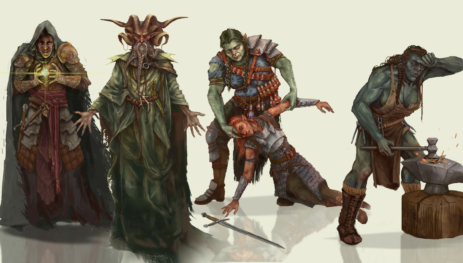 Paladin archetype, Secrets of the Growe, Healing and Forge witch. (left to right)