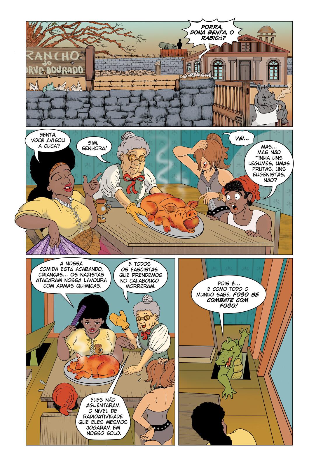 """Página da história """"Cucazilla"""", de minha autoria."""