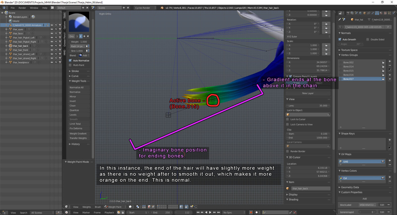 A diagram on how to get good, consistent results on weight painting gradients in Blender.