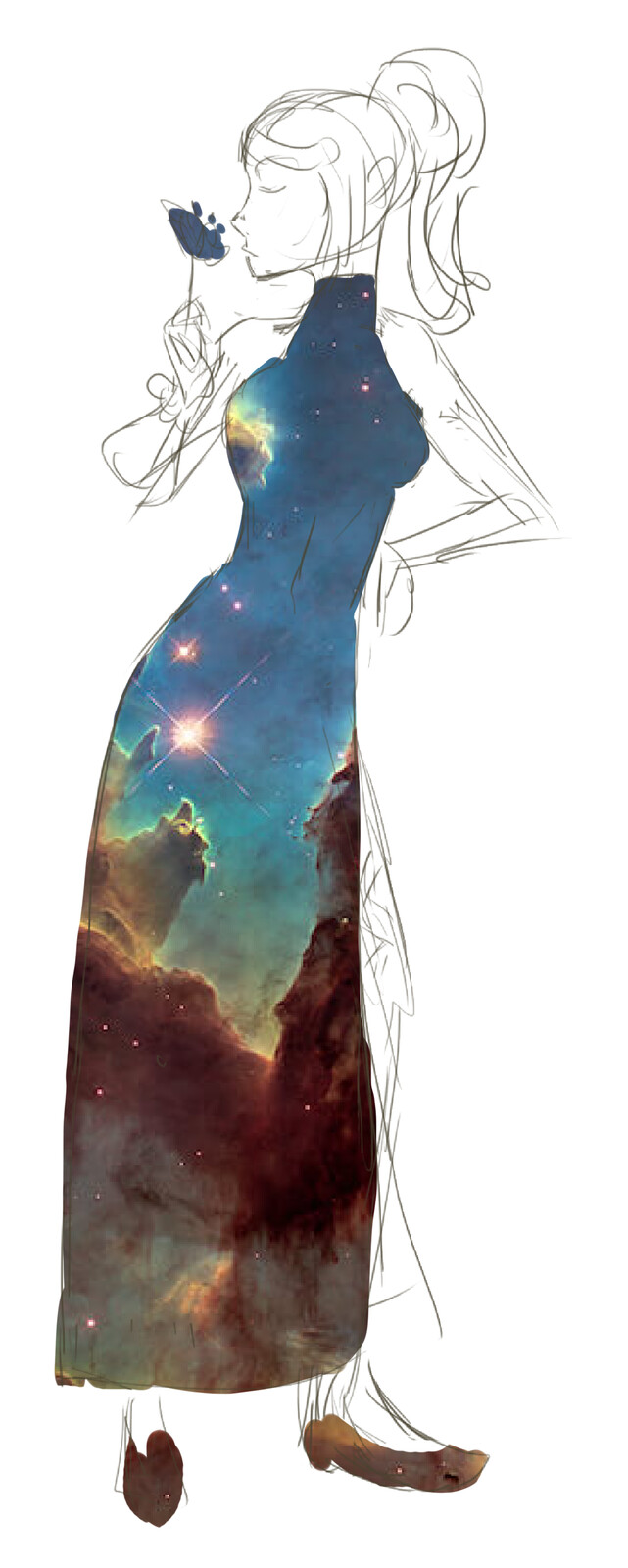 Very fast and dirty galaxy dress concept. Took photo offa google images.