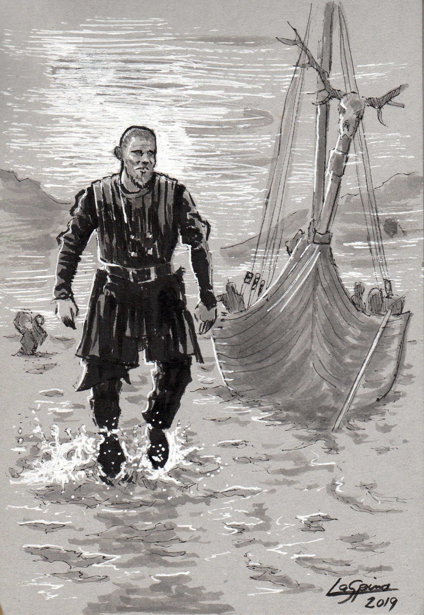Bjorn Lothbrok walking ashore.