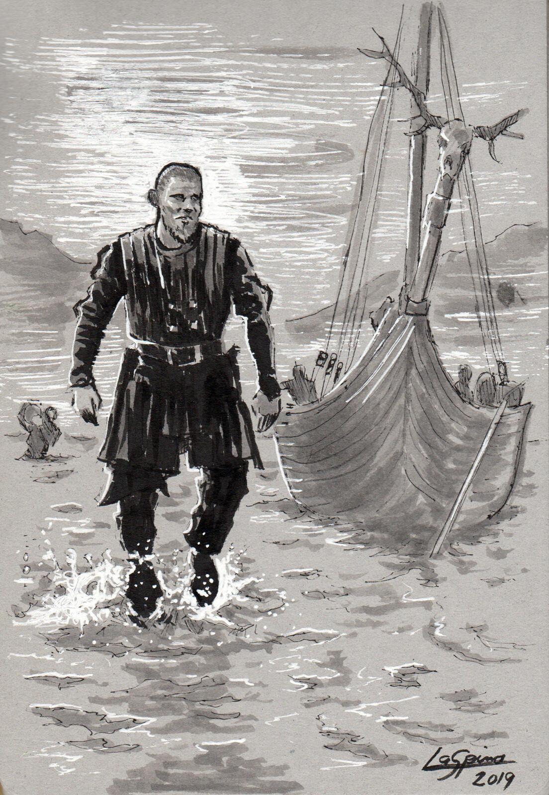 Bjorn Lothbrok walking ashore.