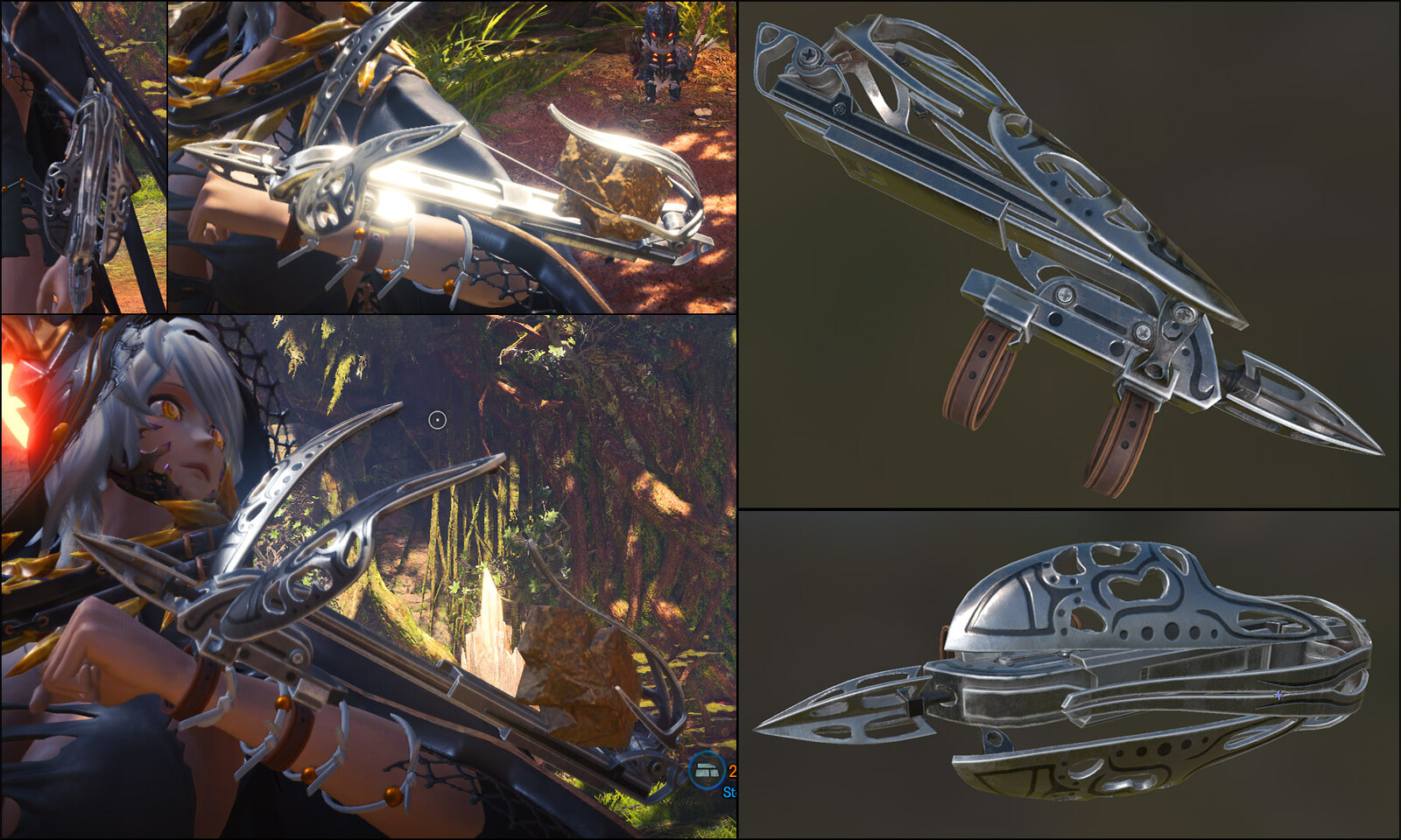 Snapshots of it on Io's arm and Substance Painter.