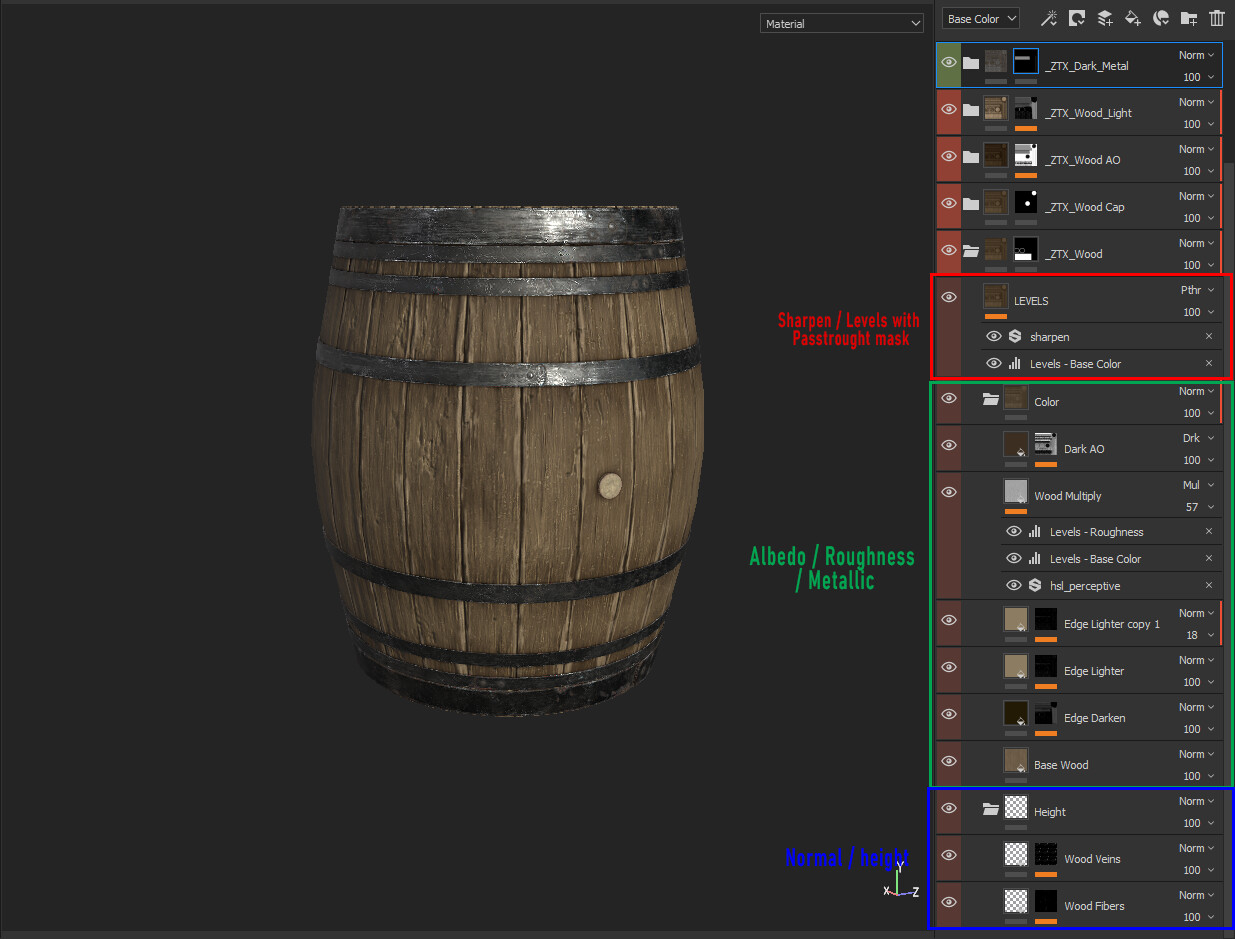 Here is an exemple of what a painter's file look like, I try to stay as organized as possible, because when you have a lot of materials on an object, it's easy to be lost.