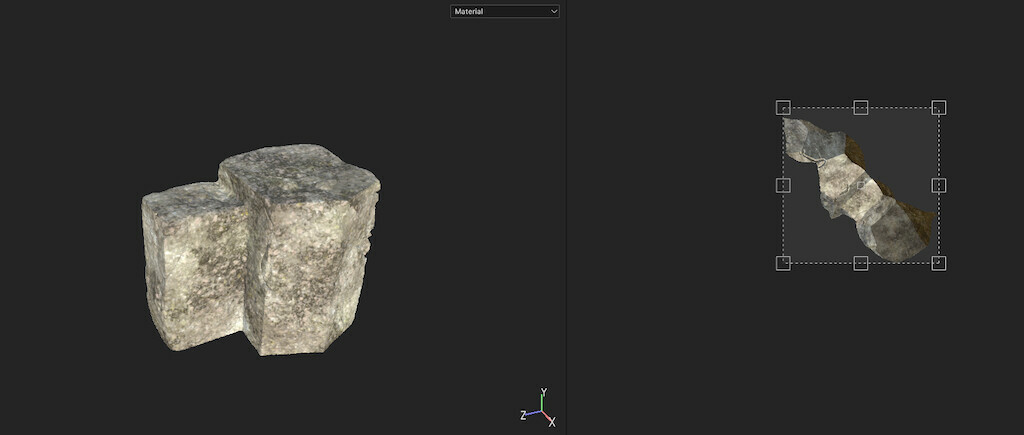 Texturing mountain assets in Substance Painter.