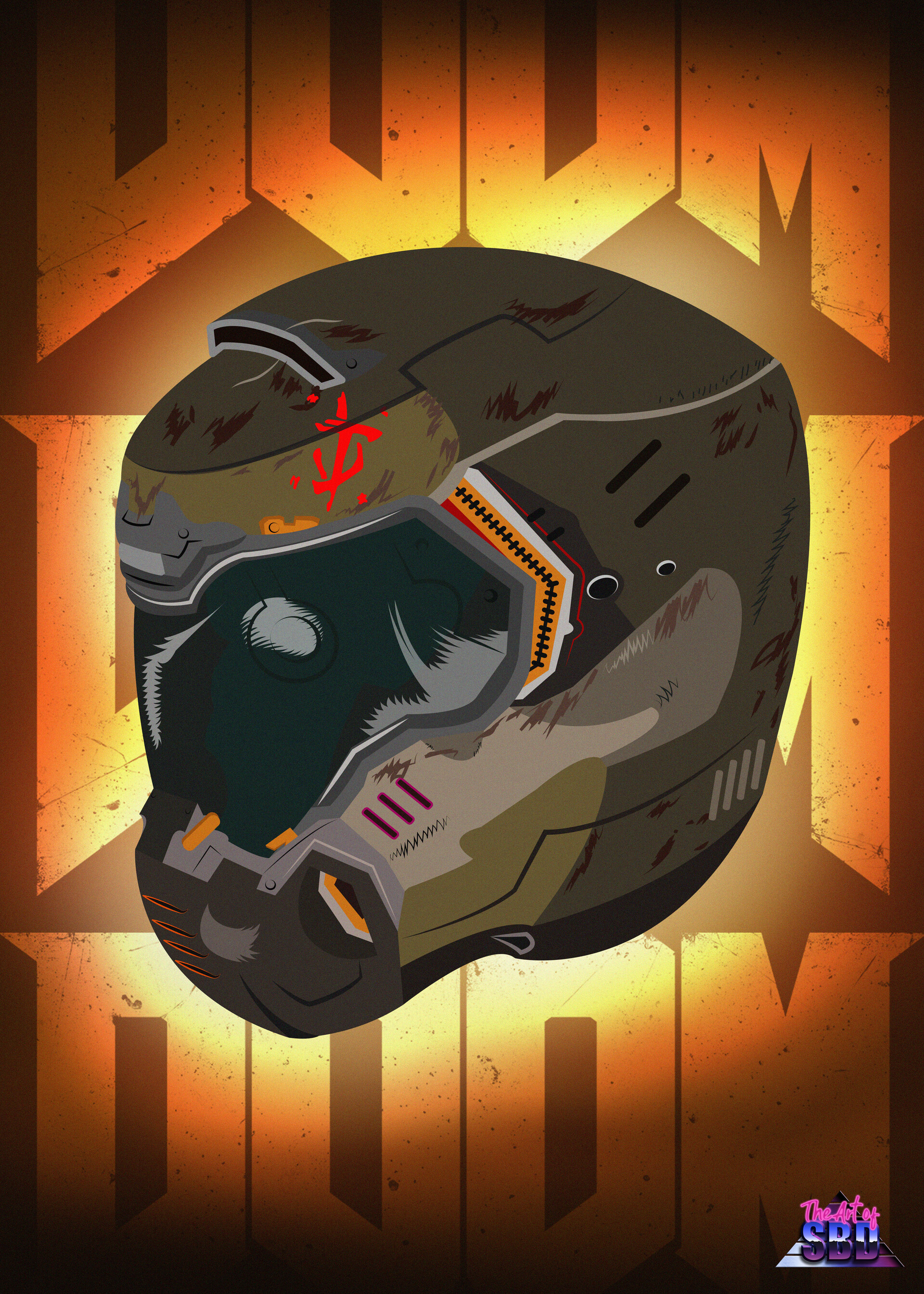 Artstation Doom Slayer Vectorial Helmet Samuel Benitez Diaz