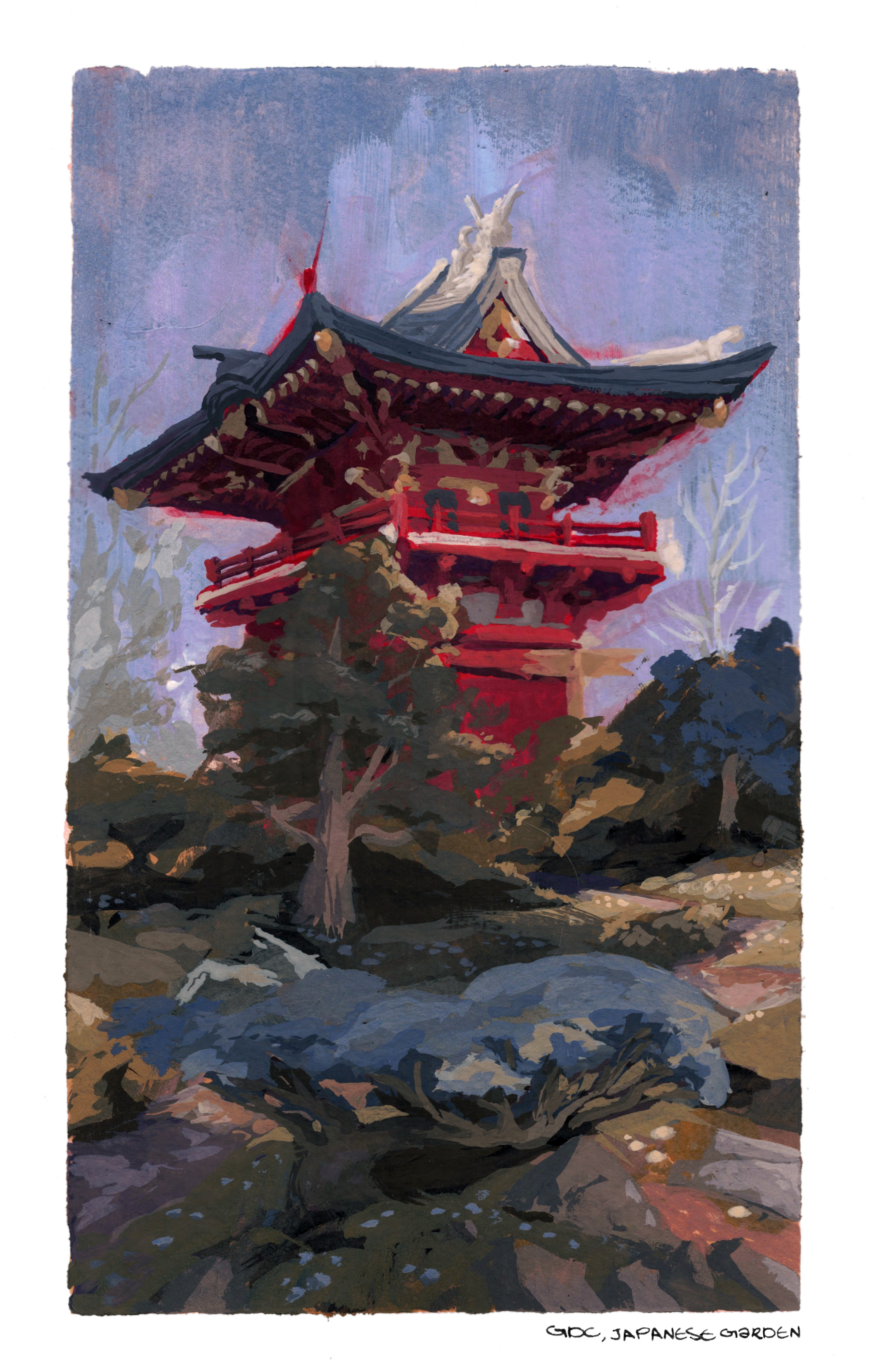Japanese pagoda in San Fransisco.  I went to GDC this year and got to stop and paint this, which was a challenge! Paint and perspective mistakes are not friends!