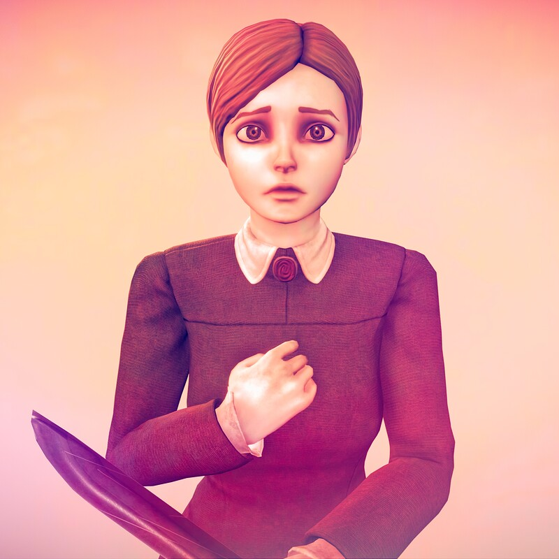 Jennifer (Rule Of Rose) - Stylized, Low Poly, Rigged, Idle animation