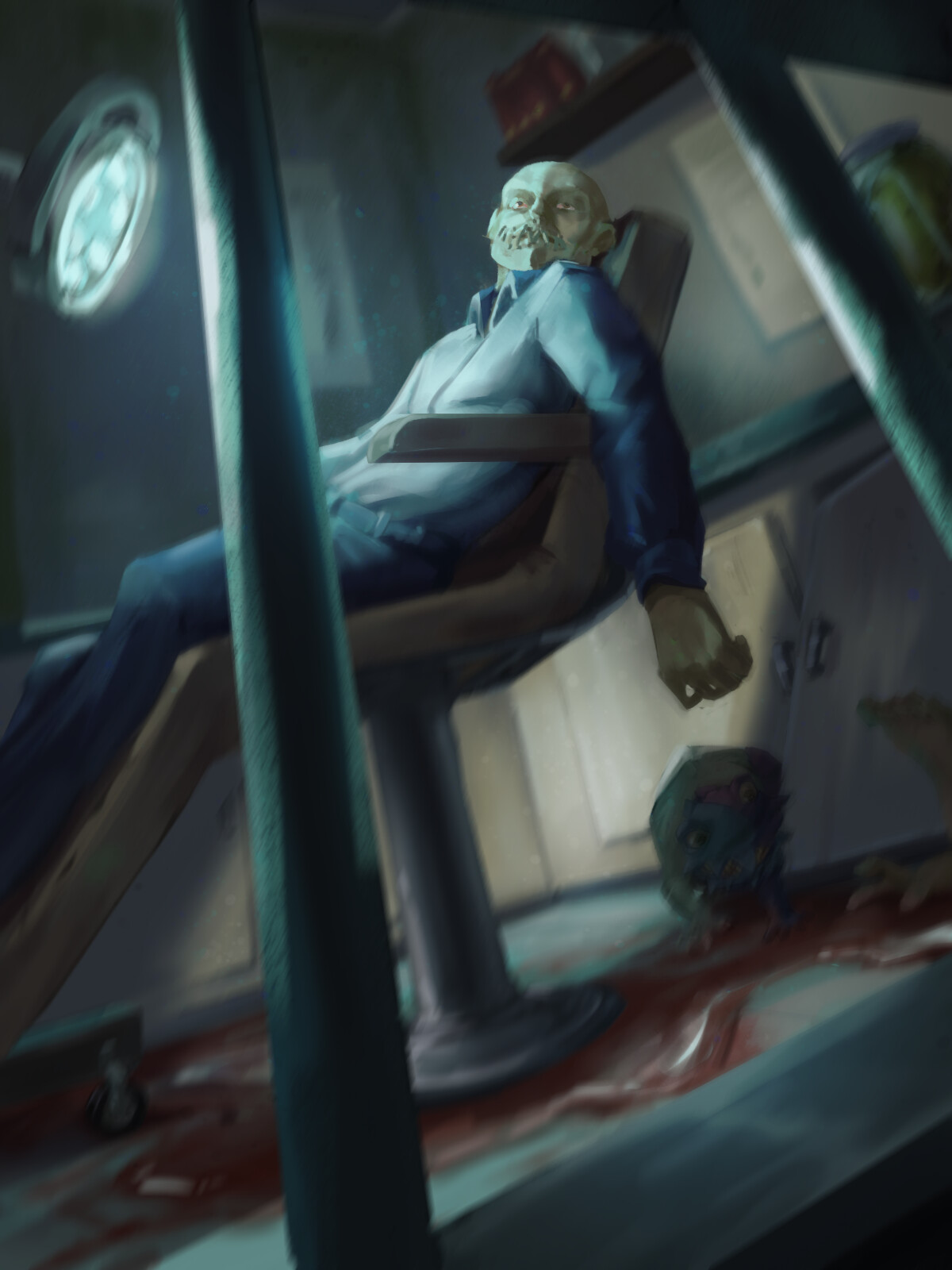 A zonked out host in Riley's operating room, with a small rat puppet lurking in the shadows.