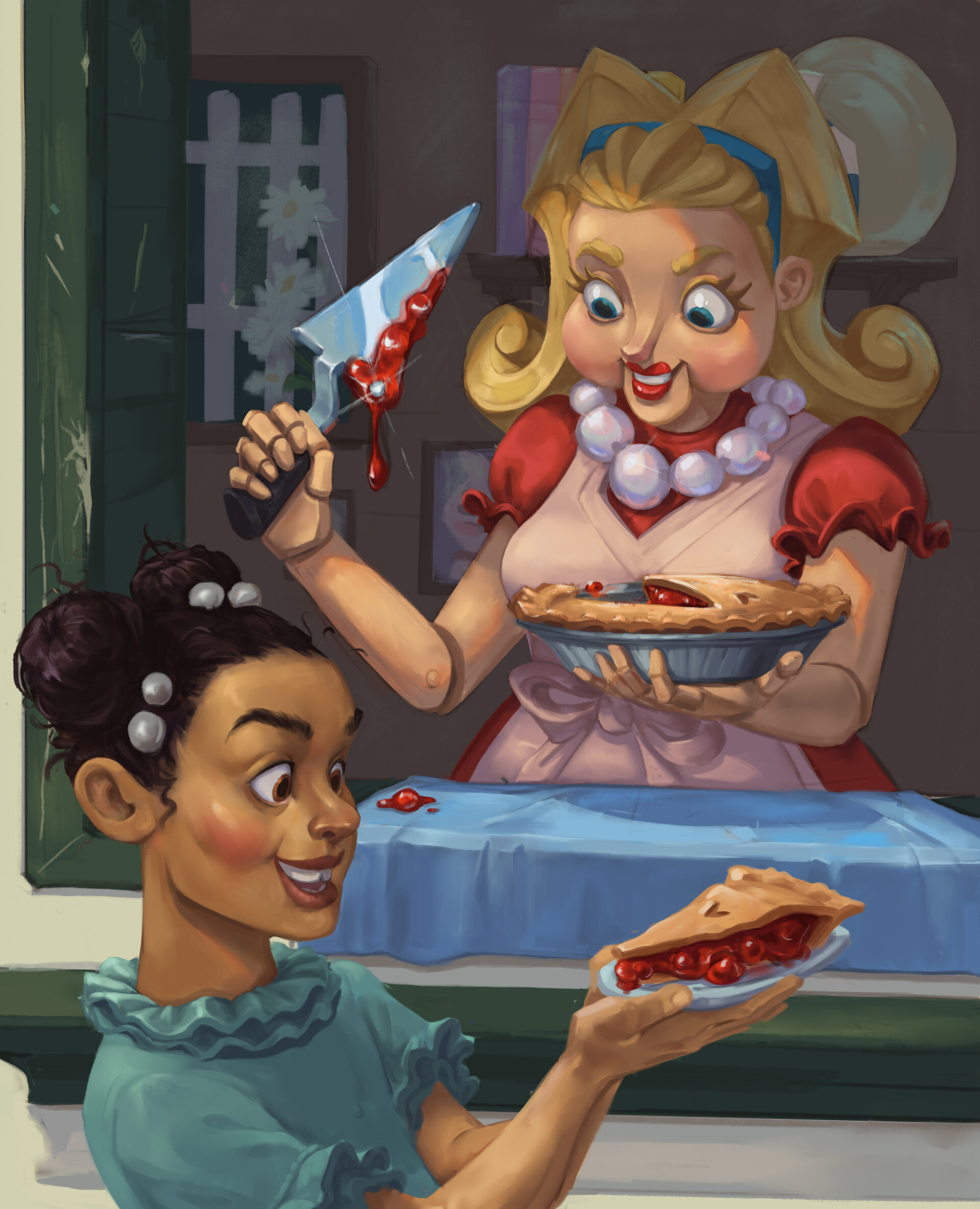 Daisy Danger giving a child a pie... aggressively.