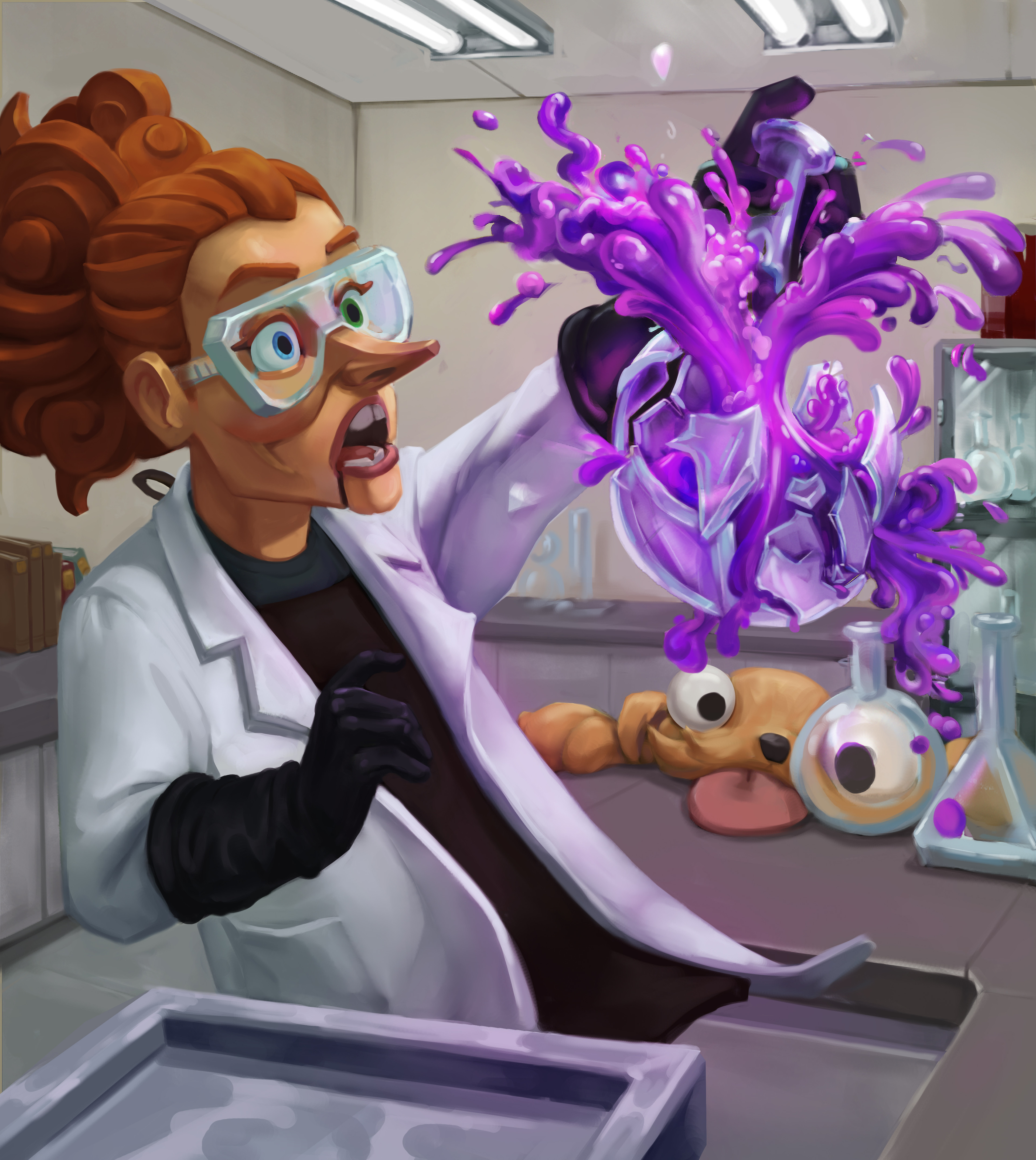 An explosion in the lab, ft a very cute, not very useful helper.