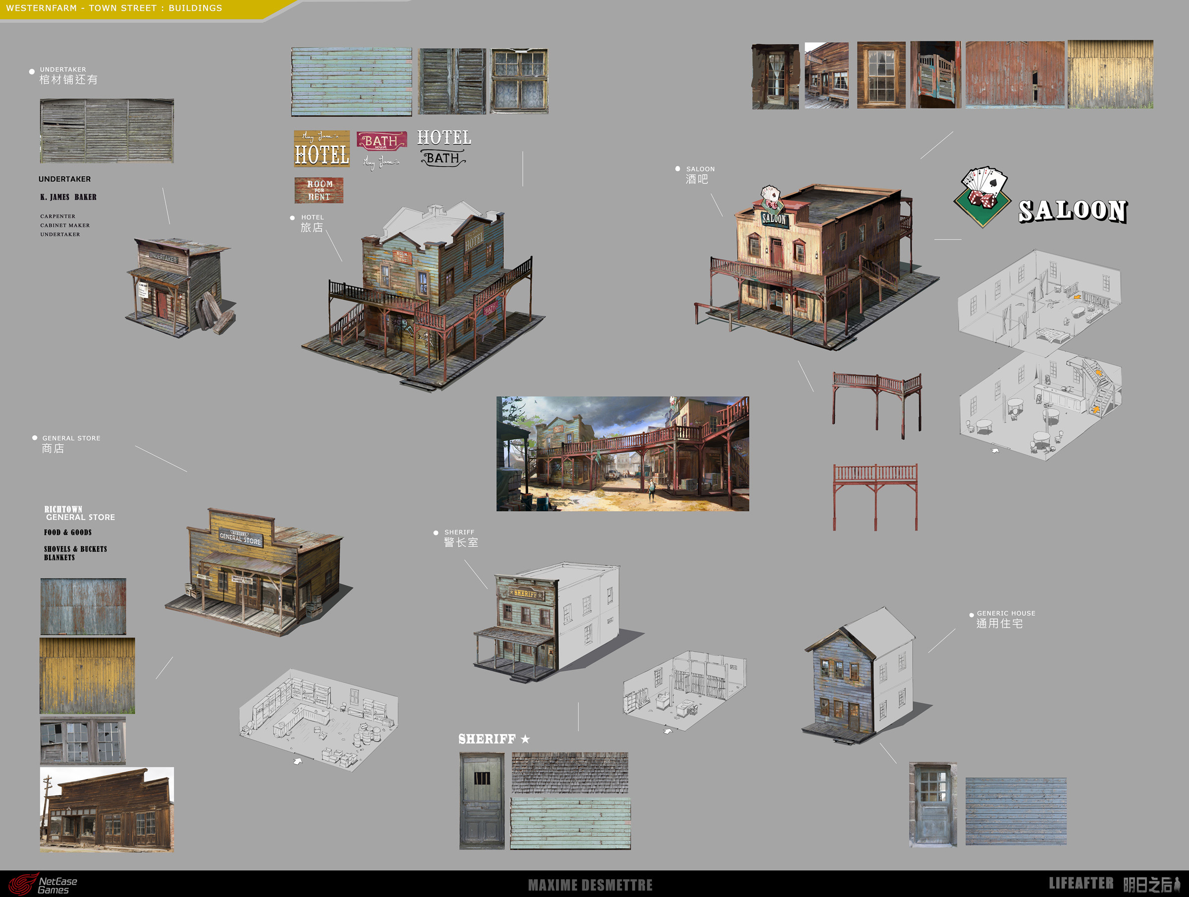 Life After - Western Town Street - Props Details Concept art (2019)