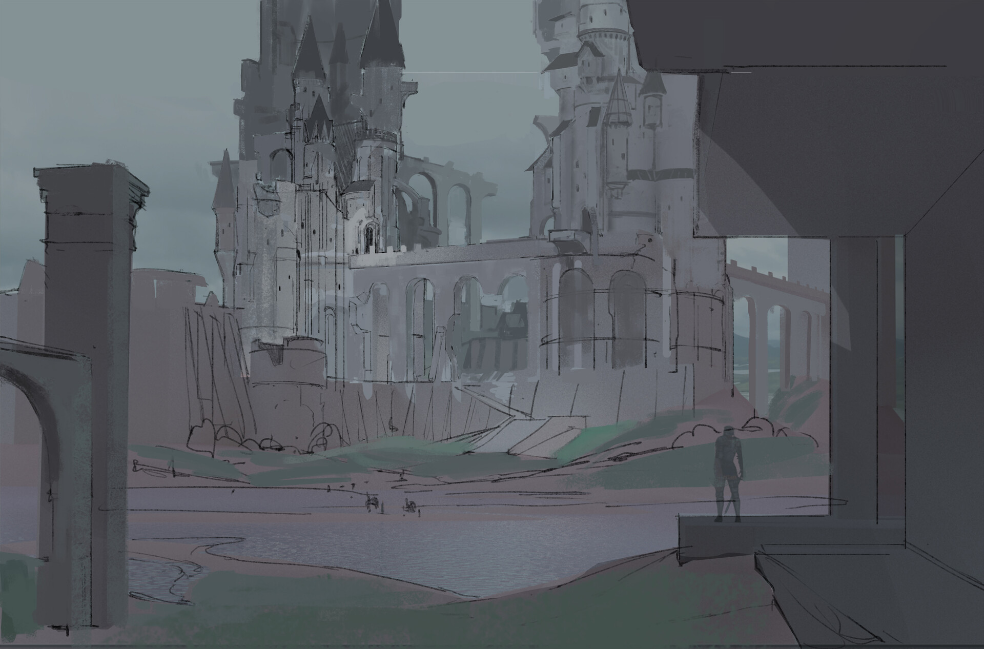 quick sketch over initial 3d blockout