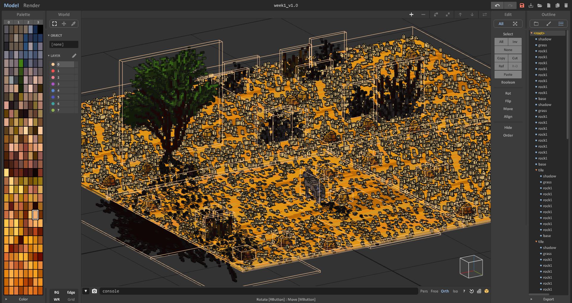 Voxaweek: Desert - MagicaVoxel scene outine Digital 3D, january 2020